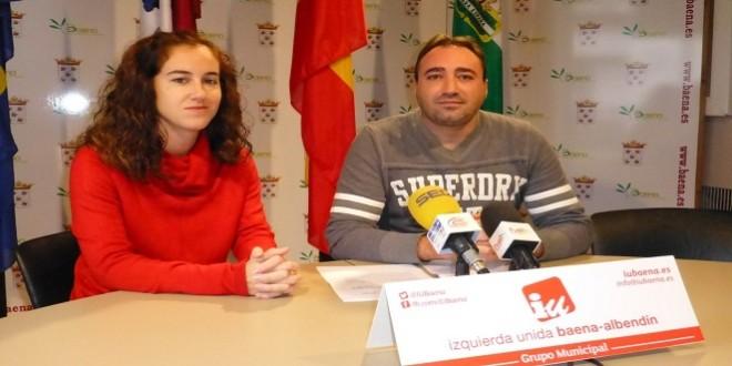 Cristina Vidal y David Bazuelo, concejales de IU  en el Ayuntamiento de Baena.