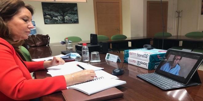 La consejera de Agricultura, Carmen Crespo, en la reunión telemática con la Interprofesional del Aceite de Oliva. Foto: Junta de Andalucía.