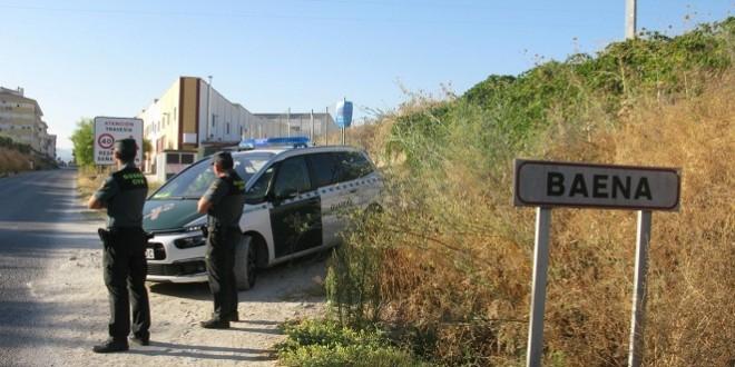 Una patrulla de vigilancia de Seguridad Ciudadana de la Guardia Civil en uno de los accesos a Baena. Foto: Guardia Civl.