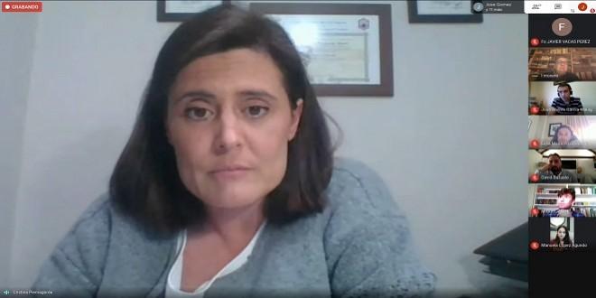 Una imagen de la videoconferencia a través de la cual se desarrolló ayer el Pleno Extraordinario y Urgente del Ayuntamiento de Baena. Foto: TV Baena.