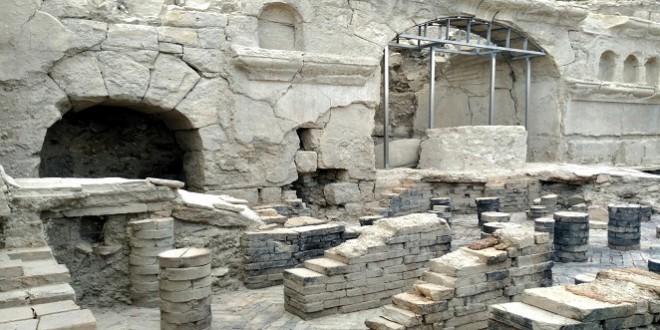 Termas orientales de la villa romana 'Ituci Virtus Iulia' en el yacimiento arqueológico de Torreparedones. Foto de archivo: TV Baena.