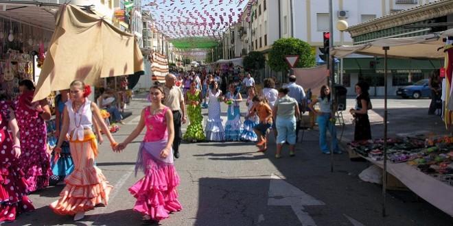Imagen de archivo de la calle principal del recinto ferial de Baena.