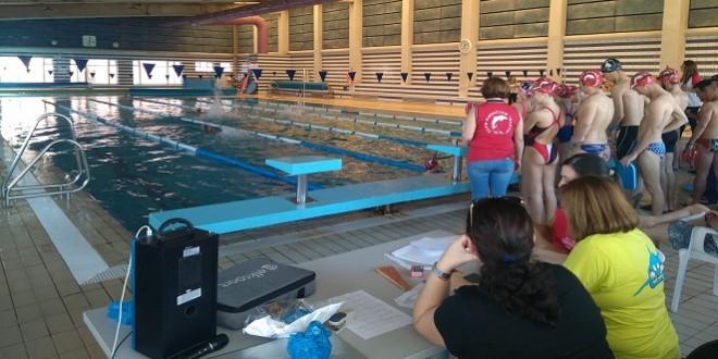 Una prueba de natación disputada esta pasada Navidad en la piscina cubierta. Foto: TV Baena.