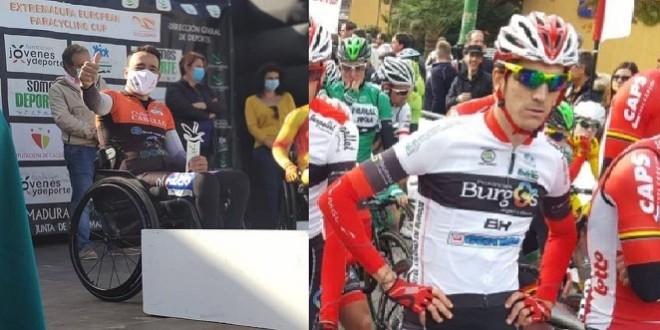 Andrés Urbano en el podium de la Copa de Europa y Jorge Cubero en una etapa de la Vuelta a España 2019. Foto: TV Baena.