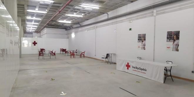 Adaptación de los bajos del Centro de Congresos para la recepción de temporeros. Foto: TV Baena.