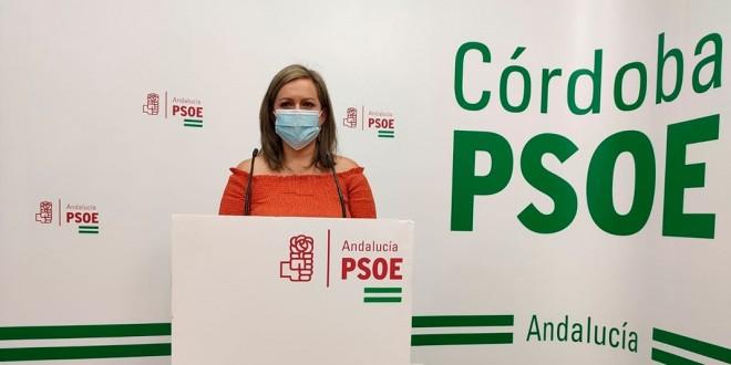 Mª Jesús Serrano en su comparecencia en la sede del PSOE de Córdoba.