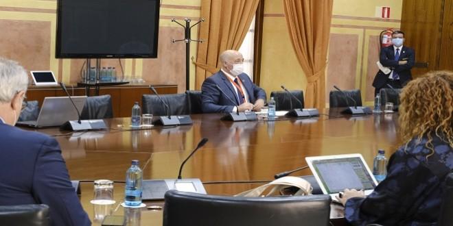 Antonio Ruiz durante su intervención en el Parlamento andaluz. Foto: Diputación de Córdoba.