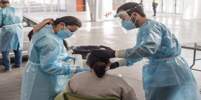 Pruebas PCR que se están realizando desde ayer en el Centro de Congresos de Baena. Foto: Ayuntamiento de Baena.