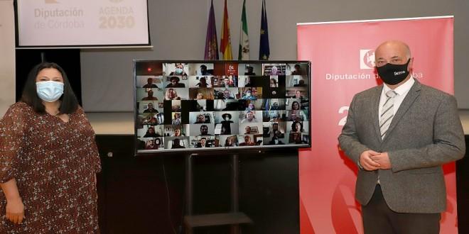 Antonio Ruiz y Dolores Amo en la firma telemática del convenio con los Ayuntamientos para la puesta en marcha del Plan 'Más Provincia'. Foto: Diputación de Córdoba.