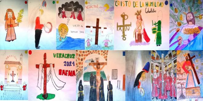 Los 12 dibujos premiados en esta doble edición del Concurso de Dibujo Cofrade 'Mª de los Ángeles Carreras Gálvez'.  Foto-montaje: TV Baena.